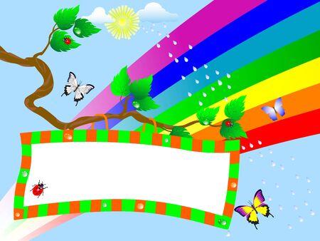 Billboard on branch and rainbow. vector