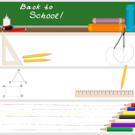 Back to school - set of four banners. Vector illustration. Vector