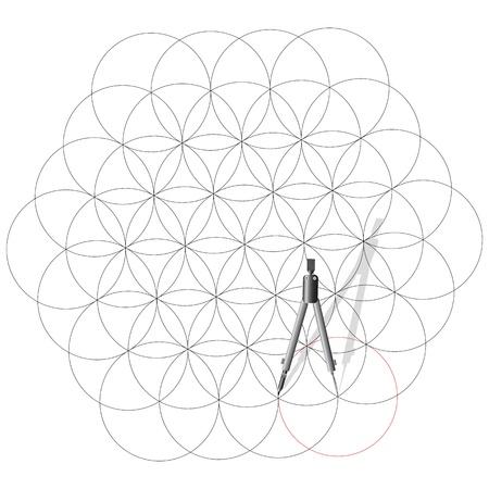 compas de dibujo: Dibujo brújula dibujar un resumen de antecedentes de los círculos. Ilustración del vector.