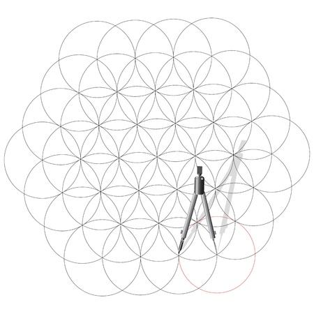 drafting tools: Drawing compass draw a abstract background of circles. Vector illustration.