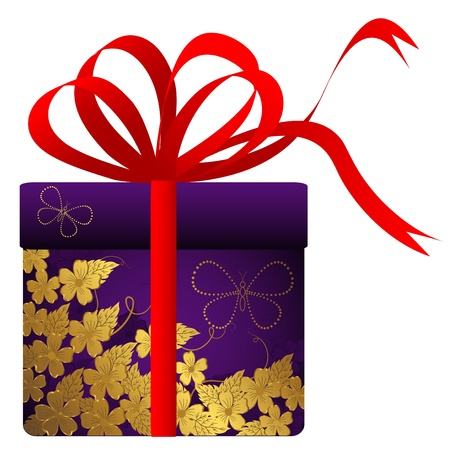 Gift with gold flowers and red bow. Vector. Stock Vector - 14265917