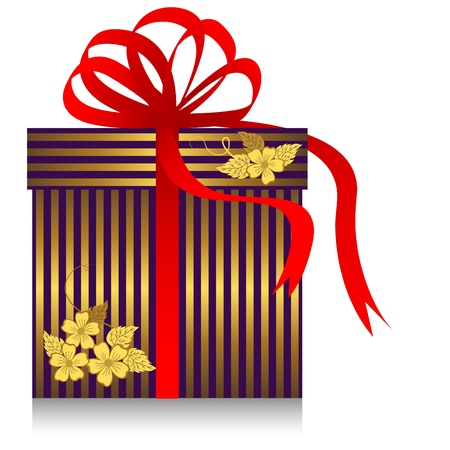 Gift with golden strips and red bow. Vector.
