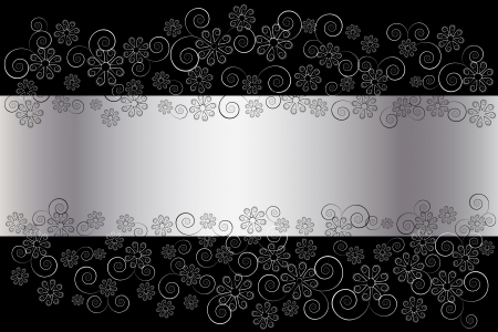 floral scroll: silver floral background.