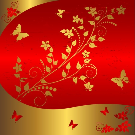Grunge floral background with butterflies. Stock Vector - 14272872
