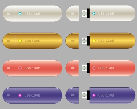 usb various: Four USB Memory Sticks - flash drives, various colors. Vector illustration.