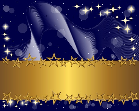 christmas promotion: Holiday background with gold banner and stars. Vector Illustration. Illustration