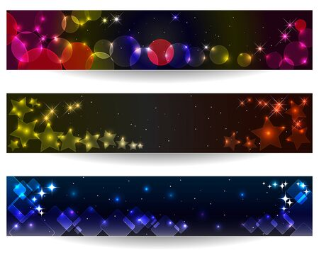 Set of three abstract banners with glowing light effect. Vector Illustration. Stock Vector - 14297592