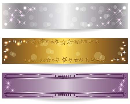 silver ribbon: Set of three holiday banners. Vector Illustration. Illustration