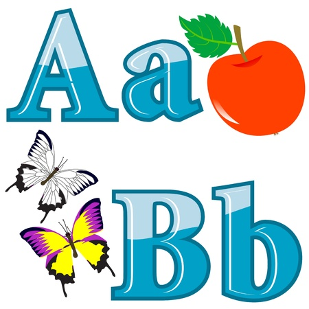 english text: The English alphabet with funny pictures. letters A; B. Vector.