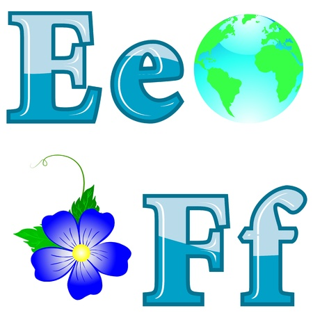 funny pictures: The English alphabet with funny pictures. Letters E; F. Vector.