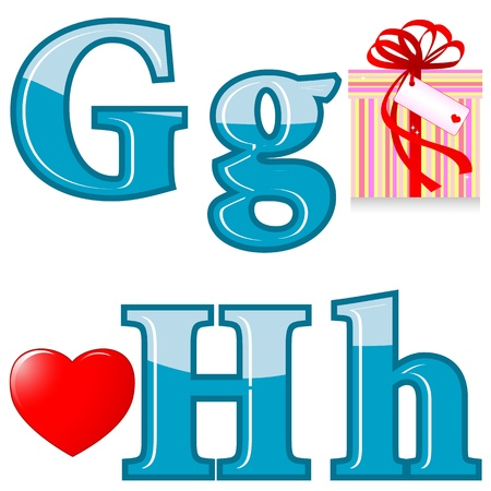 The English alphabet with funny pictures. Letters G; H. Vector. Stock Vector - 14297578