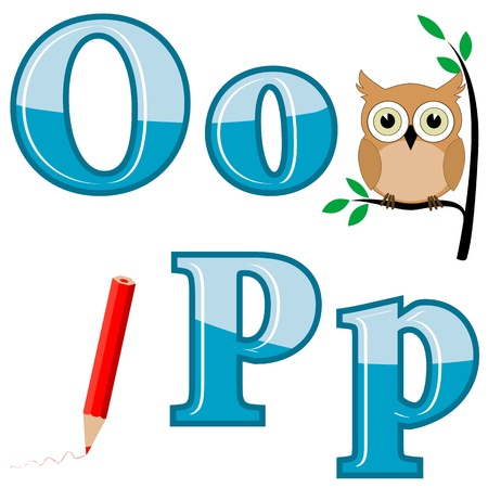 grammar: The English alphabet with funny pictures. Letters O, P. Vector. Illustration