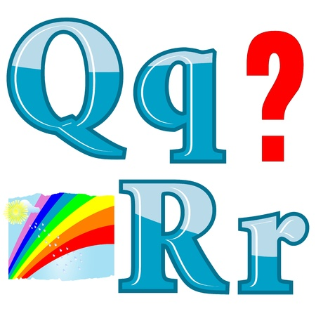 funny pictures: The English alphabet with funny pictures. Letters Q, R. Vector.