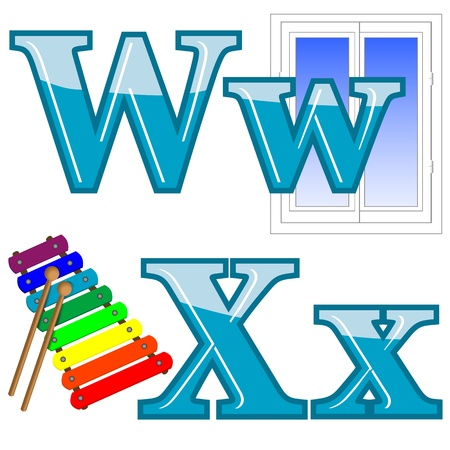 xylophone: The English alphabet with funny pictures  Letters W, X  Vector  Illustration