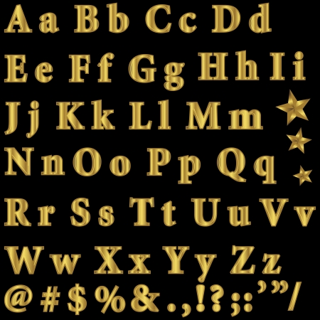 Golden font, punctuation marks and symbols  Vector