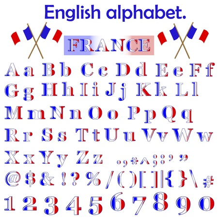 France flag alphabet with letters, punctuation marks, numbers and symbols  Vector Stock Vector - 14302913