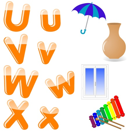 The English alphabet with funny pictures. letters U, V, W, X. Vector. 10 EPS. Vector