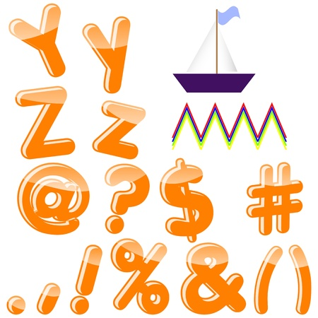 Alphabet with letters Y, Z, punctuation marks and symbols ; Vector  10 EPS  Vector