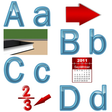 The English alphabet with funny pictures  letters A, B, C, D  Vector 10 EPS  Vector