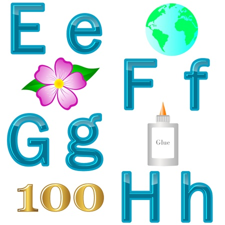 funny pictures: The English alphabet with funny pictures  letters E, F, G, H  Vector 10 EPS