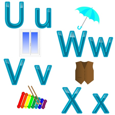 The English alphabet with funny pictures  letters U, W, V, X