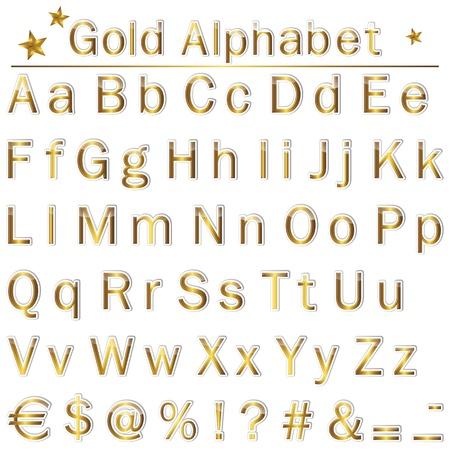 gold alphabet:  The English golden  alphabet, punctuation marks and symbols   Illustration