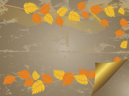 Art grunge background with autumn leaves Stock Vector - 14322724