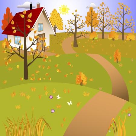 arbre automne: Paysage d'automne avec la maison et la route