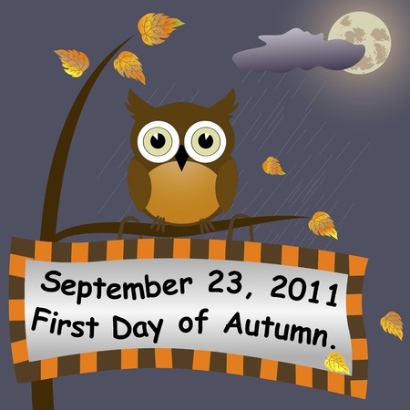 First Day of Autumn  Night background with a signboard and owl   Vector