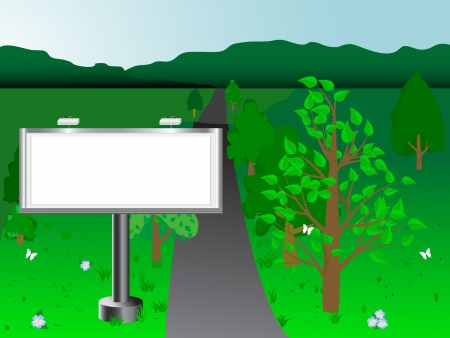 Billboard on a background of the green landscape   Stock Vector - 14322722