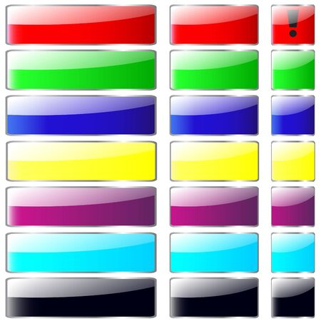 Set multicolored web buttons with silver metallic edging Stock Vector - 14322728