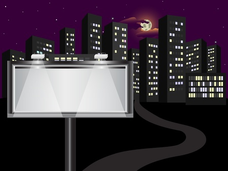 The big billboard in the night city Illustration
