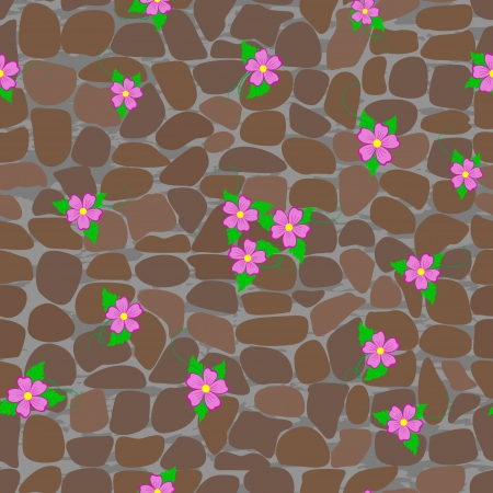 Seamless patterns with stones and flowers Vector
