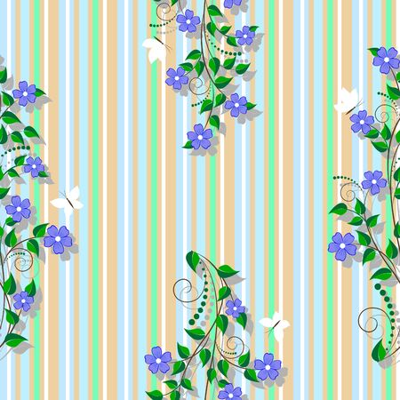 Seamless patterns with flowers and butterflies. Vector illustration. Stock Vector - 14399897