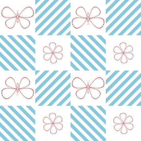 Seamless pattern with butterflies and flowers from points Vector
