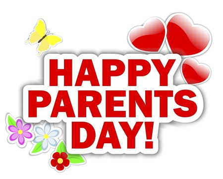 Parents day stickers with hearts, flower and butterfly Stock Vector - 14399948