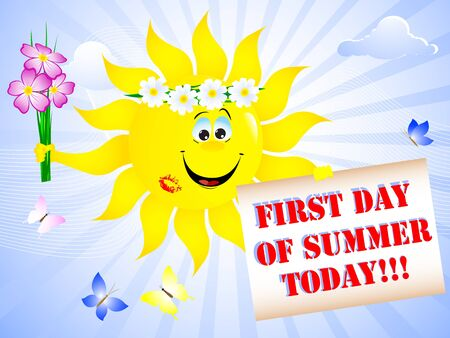 summer solstice: First Day of Summer. Sun with lip print and placard