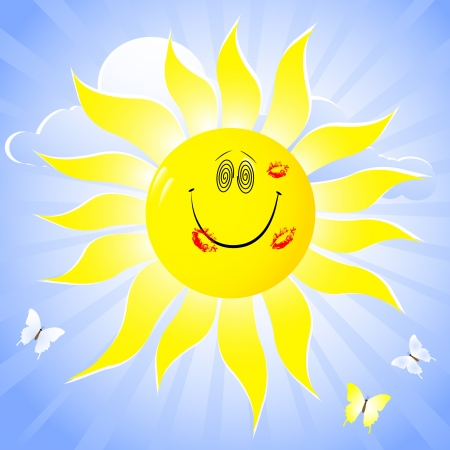 animal sexy: Smiling sun with lip print and butterflies