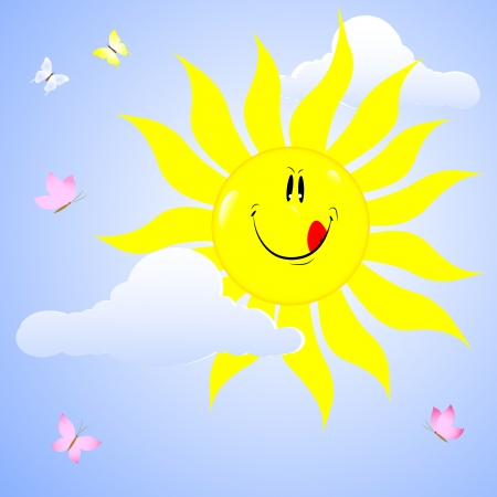 Smiling sun with bows and butterflies Vector