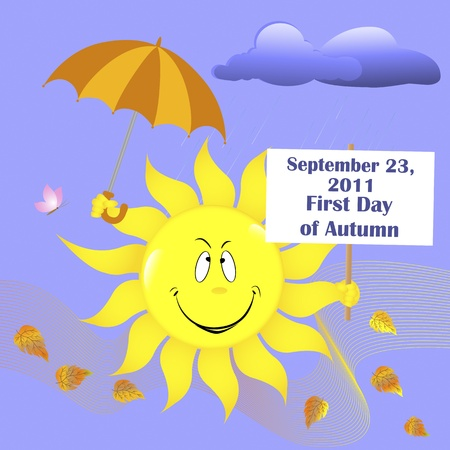 raincloud: First Day of Autumn. Smiling sun with umbrella and placard Illustration