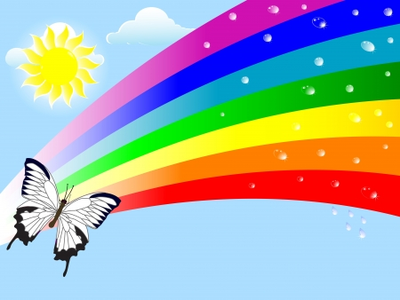 Abstract nature background with a rainbow and drops. Vector. Illustration