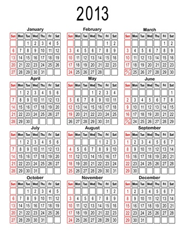 Template for calendar 2013. You can easily change background. Vector illustration. Vector