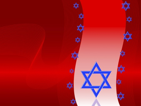 Rosh Hashanah card. Star of David on red background with reflection Vector