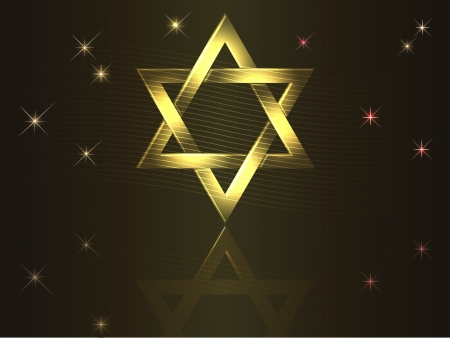 star of david: Holiday background with gold David star
