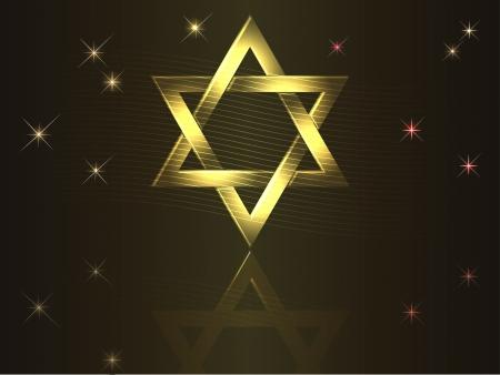 stella di davide: Vacanza sfondo d'oro David stelle Vettoriali
