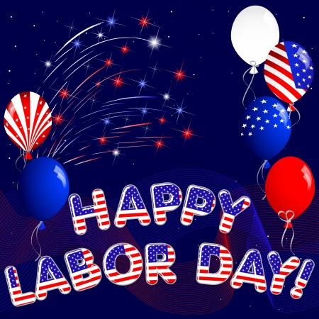 Happy Labor Day with fireworks and balloons Vector
