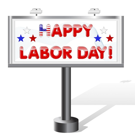 Billboard isolated on white. Labor Day Illustration