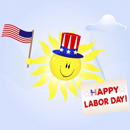 Labor Day. The smiling sun with the American flag and a greeting card Vector