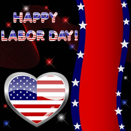 night and day: Labor Day background with banner and button-heart Illustration