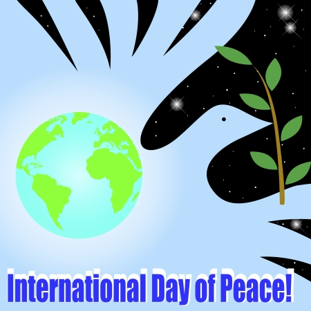 green peace: International Day of Peace. Globe and the dove of peace Illustration